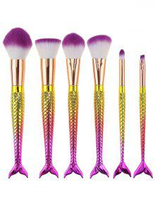 6Pcs Ombre Mermaid Tail Facial Makeup Brushes - White + Purple