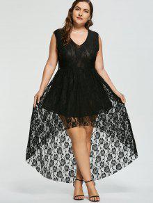 High Low Sleeveless Lace Plus Size Dress