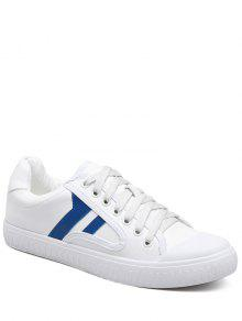 Zapatos Planos Del Bloque Del Color Del Cuero Del Faux - Azul 38