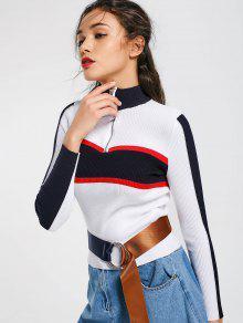 Contrasting Half Zip Mock Neck Sweater - White M