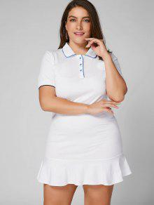35% OFF] 2019 Plus Size Ruffle T Shirt Dress In WHITE | ZAFUL