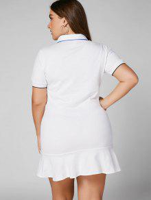 5408ee74a59 36% OFF] 2019 Plus Size Ruffle T Shirt Dress In WHITE | ZAFUL United ...