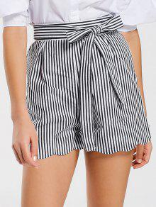 Belted Scalloped Stripes Shorts - Stripe M