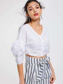 Cropped Button Up Lantern Sleeve Blouse - White M