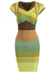 فستان الضمادة كاب الأكمام كتلة اللون - الأصفر L