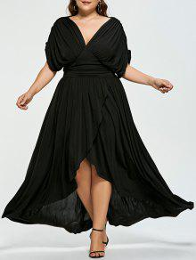 b53142f58a1 38% OFF  2019 Plus Size Empire Wasit High Low Prom Dress In BLACK XL ...