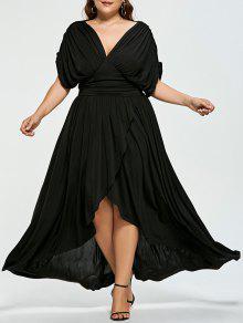 فستان عالية انخفاض امبراطورية الخصر الحجم الكبير - أسود 5xl