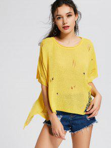 Oversize Side Slit Ripped Sweater - Yellow
