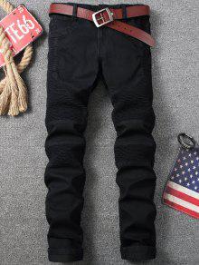 e02bbfdd 29% OFF] 2019 Zip Fly Pleat Design Biker Jeans In BLACK | ZAFUL
