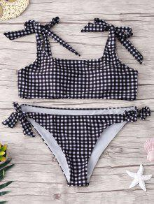 Tied Checked Bikini Set - Checked S
