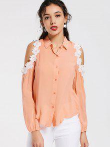 Camisa Del Ajuste Del Cordón Del Hombro Frío - Naranja Rosa L