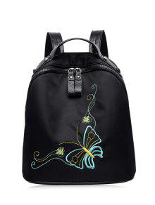 Embroidery Nylon Rivets Backpack - Black