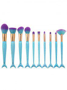 10Pcs Ombre Pelo Sirena Manija Cepillos De Maquillaje Set - Azul