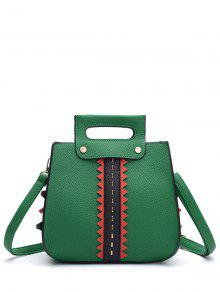 Textured Leather Colour Block Rivets Handbag - Green