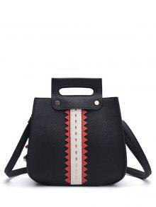 Textured Leather Colour Block Rivets Handbag - Black