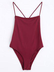 Skinny Criss Cross Cut Out Bodysuit - Wine Red M