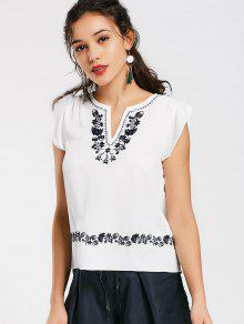 Ruffles Floral Embroidered Blouse - White S