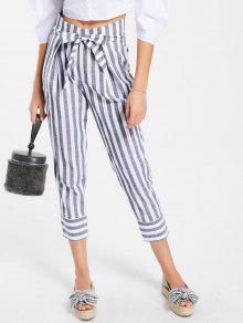 Belted High Waist Striped Capri Pants - Stripe M