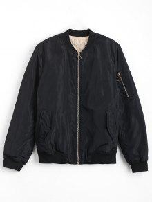 Zip Up Invisible Pockets Bomber Jacket - Black L