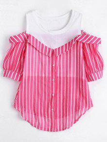 Button Up Cold Shoulder Striped Blouse - Rose Red