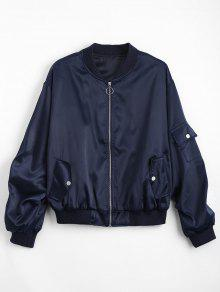 Zip Up Pockets Drop Shoulder Jacket - Purplish Blue