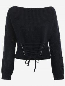 Boat Neck Lace Up Sweater - Black
