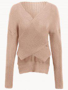 Drop Shoulder Plain Wrap Sweater - Nude Pink