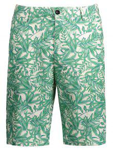 Leaves Print Zipper Fly Casual Shorts - Xl
