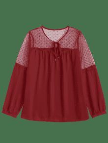 L De A Trav De Gasa Ver Rojo Panel De 233;s Blusa De Voile w7fqtax