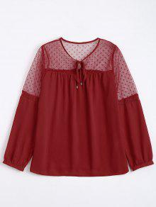 See Thru Voile Panel Chiffon Blouse - Red S