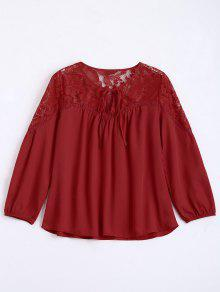 Loose Chiffon Lace Panel Blouse - Red S