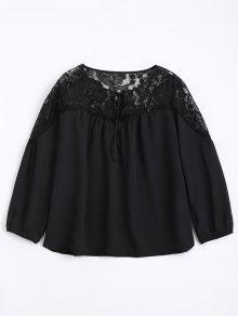 Loose Chiffon Lace Panel Blouse - Black L