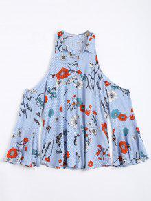 Stripes Floral Cold Shoulder Shirt - Light Blue S