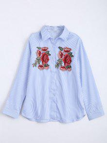 Floral Embroidered Patches Stripes Shirt - Light Blue S