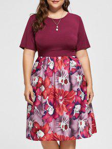 Vestido A La Medida De Linea Floral - Rojo Purpúreo 2xl