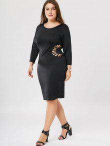 27% OFF] 2019 Plus Size Cutout Bodycon Dress In BLACK   ZAFUL