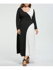 فستان ماكسي الحجم الكبير طويلة الأكمام - أبيض وأسود 4xl