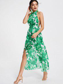 Leaves Print Open Back Slit Maxi Dress - Green Xl