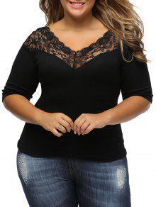 Camiseta De Encaje Con Cuello En V - Negro 3xl