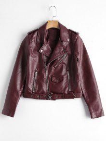 Zip Up Belted Faux Leather Biker Jacket - Wine Red S