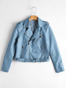 Zip Up Belted Faux Leather Biker Jacket - Light Blue M