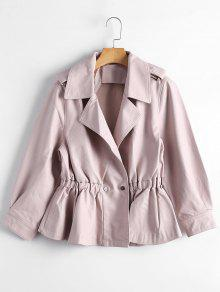 Snap Buttons Faux Leather Jacket - Light Pink M