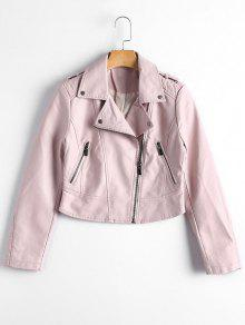Faux Leather Asymmetric Zipper Jacket - Light Pink L