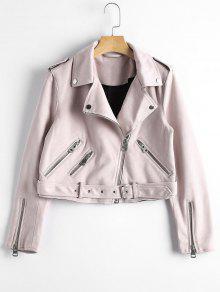 Asymmetric Zipper Belted Faux Suede Jacket - Light Pink M