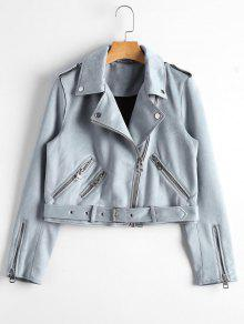 Asymmetric Zipper Belted Faux Suede Jacket - Blue Gray S