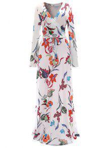 الزهور فستان ماكسي الرسمي - أبيض M