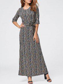هندسي طباعة طول الكلمة فستان ماكسي - أسود L