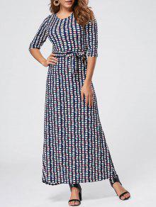 هندسي طباعة طول الكلمة فستان ماكسي - أزرق 2xl