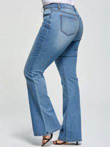 زائد حجم خمسة جيوب مضيئة الجينز - ازرق Xl