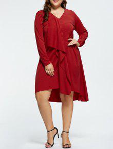 Robe De Soirée Grande Taille Haute-Basse Col En V - Rouge 2xl
